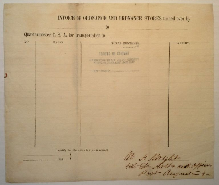 War Date Document Signed. William A. WRIGHT, 1844 - 1929.