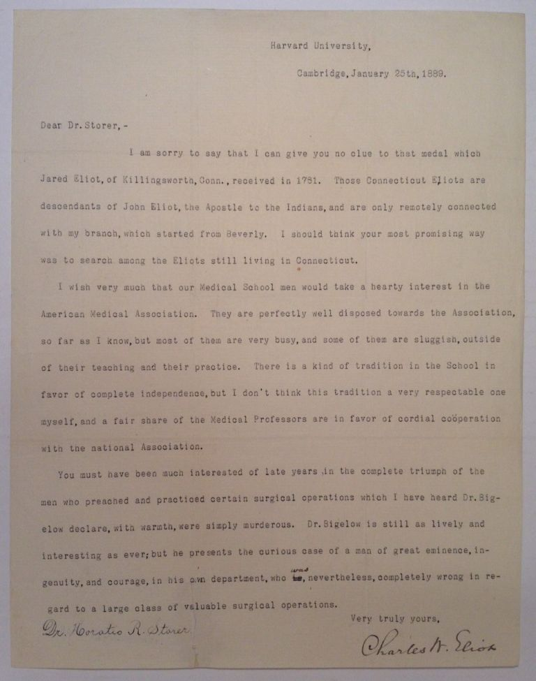 Typed Letter Signed by the President of Harvard. Charles W. ELIOT, 1834 - 1926.