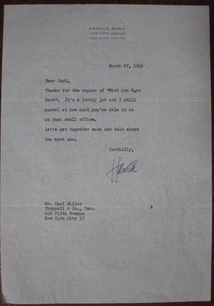 Typed Letter Signed on personal letterhead. Harold ROME, 1908 - 1993.