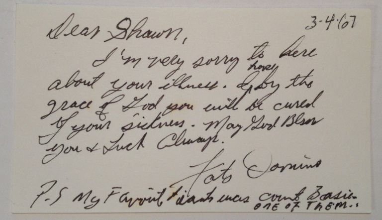 Autograph Note Signed. Fats DOMINO, 1928 -.