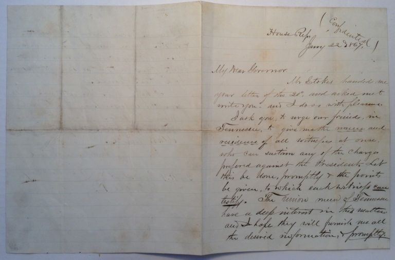 Autographed Letter Signed soliciting witnesses for Andrew Johnson's impeachment trial. James Mitchell ASHLEY, 1824 - 1896.