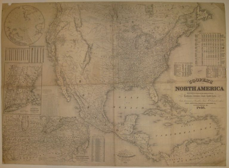 Cooper's North America: British Provinces, Mexico, Central America, W. India Is.&c. Exhibiting the Railroads with their Distances, single and double tracks & width of Guage. The Time Compared with Noon at Washington & Greenwich_The Longest Day for Different Latitudes & the Recent Arctic discoveries of Franklin, Kane, McClintock & others. COOPER.