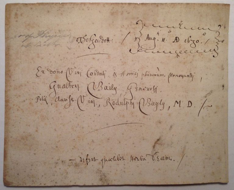 Autographed Document Signed. Thomas GUIDOTT, 1638 - 1706.