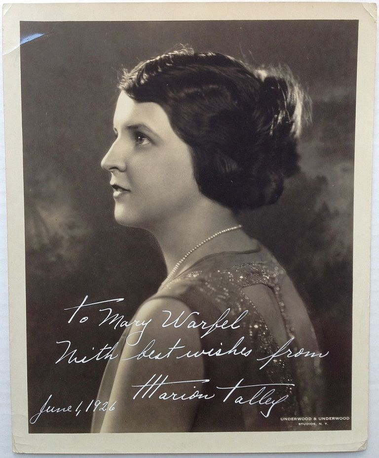 Inscribed Vintage Photograph. Marion TALLEY, 1906 - 1983.