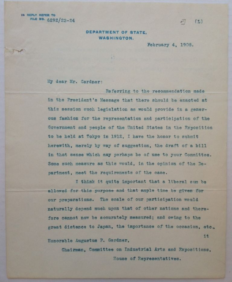 """Typed Letter Signed on """"Department of State"""" letterhead. Elihu ROOT, 1845 - 1937."""
