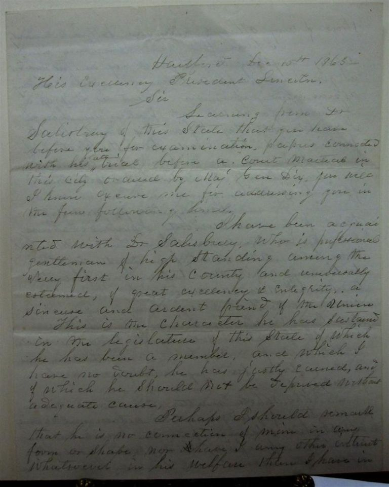 Retained Copy of a Letter to Abraham Lincoln. William W. ELLSWORTH.