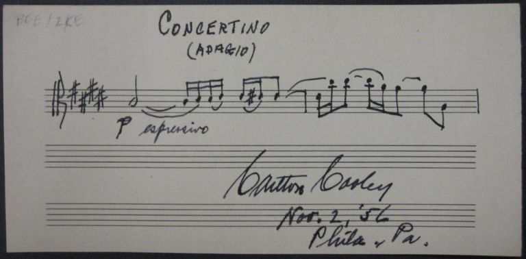 Autographed Musical Quotation. Carlton COOLEY, 1898 - 1981.