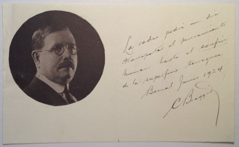 Autographed Note Signed in Spanish. Carlos BRAGGIO.