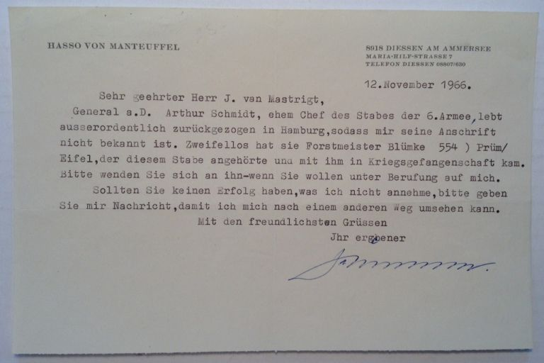 Typed Letter Signed in German. Hasso von MANTEUFFEL, 1897 - 1978.
