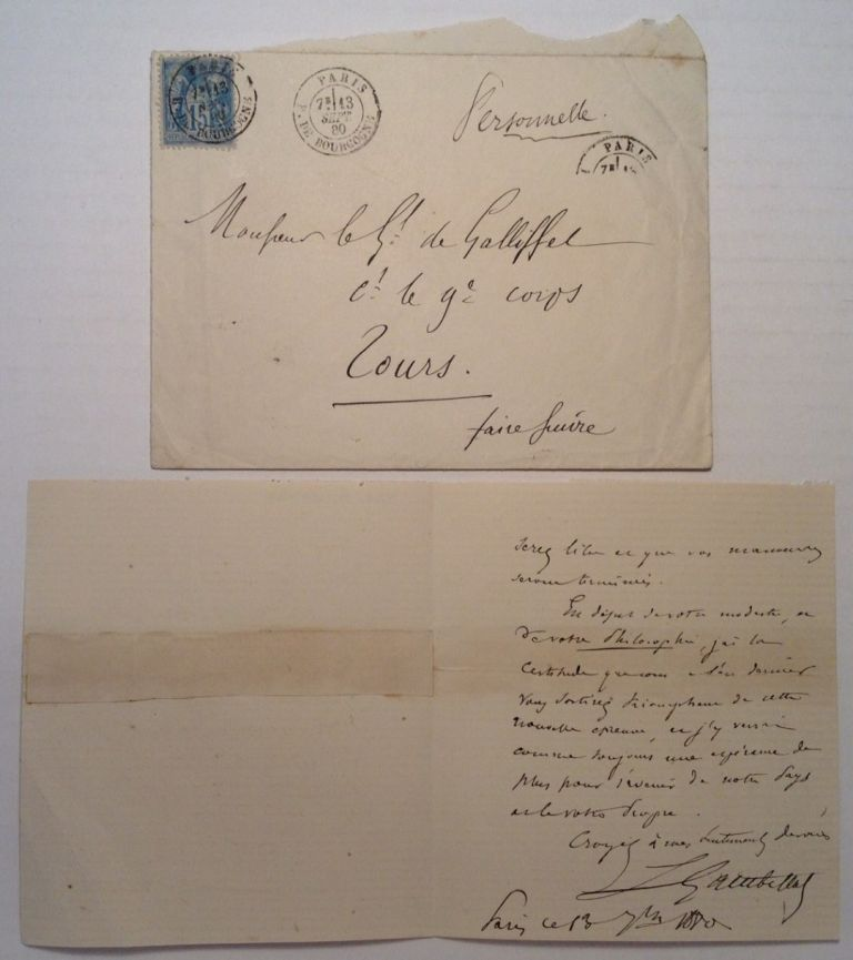 Autographed Letter Signed in French. Leon GAMBETTA, 1838 - 1882.