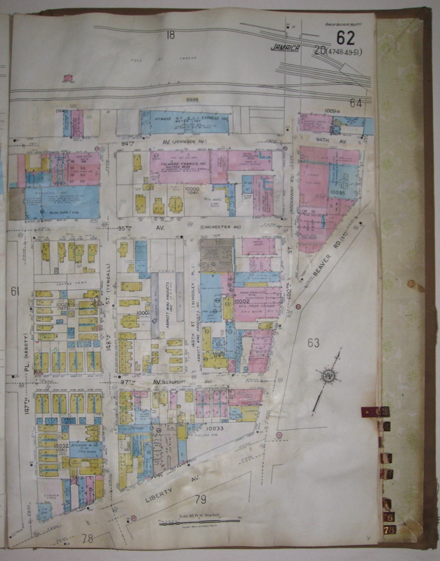 Vol. 6 of 29 Atlases of Insurance Maps for Queens. Downtown Jamaica & Morris Park. SANBORN MAP COMPANY.