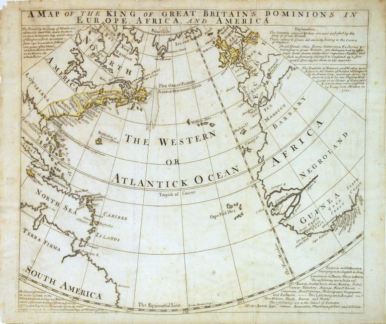 A Map of the King of Great Britain's Dominions in Europe, Africa, and America. Emanuel BOWEN.
