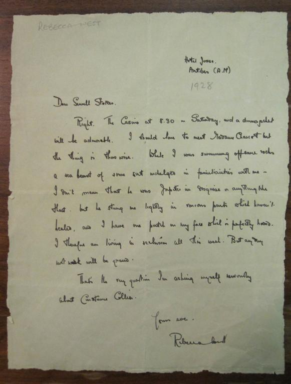 Autograph Letter Signed to author Sewell Stokes. Rebecca WEST, 1892 - 1983.