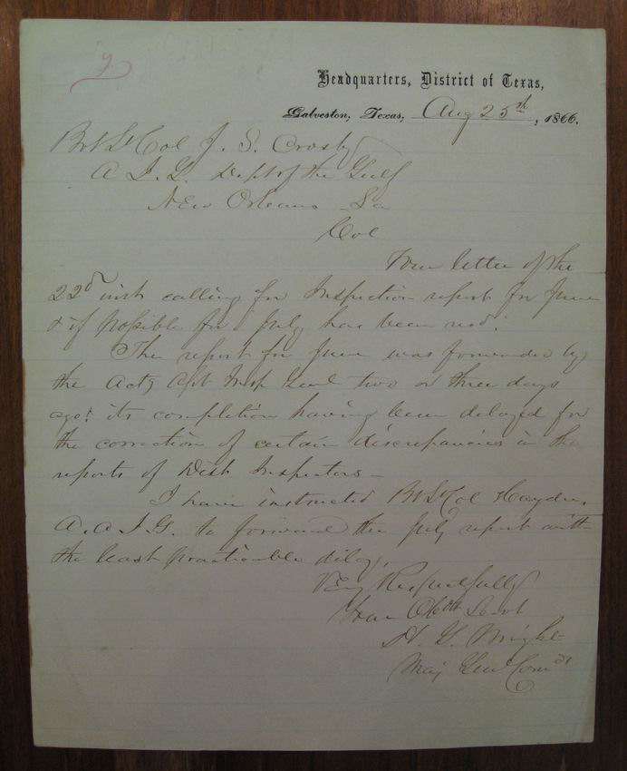 """Autographed letter signed """"H.G. Wright"""" by the Major-General of the Union Army. CIVIL WAR -- Horatio Gouverneur Wright."""