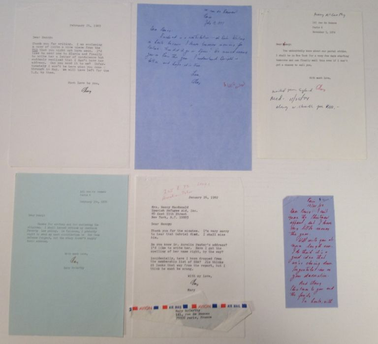 Archive of six typed and handwritten letters. Mary MCCARTHY, 1912 - 1989.