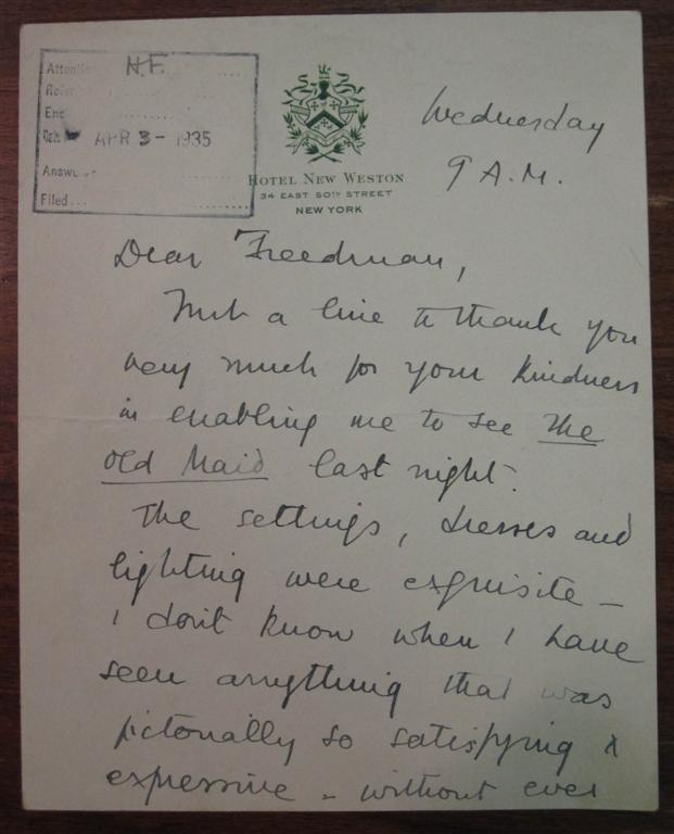 Chatty Autographed Letter Signed. Tyrone GUTHRIE, 1900 - 1971.