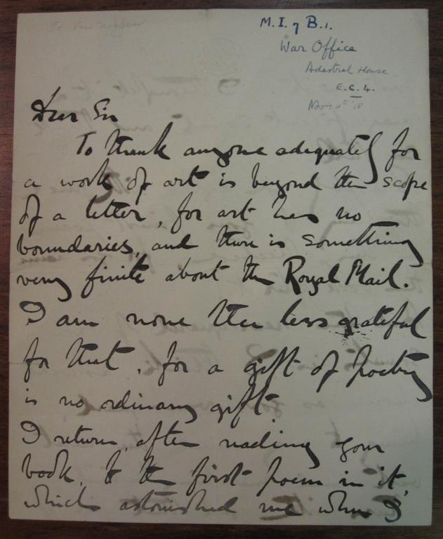 Autographed Letter Signed. Lord DUNSANY, Edward Plunkett.