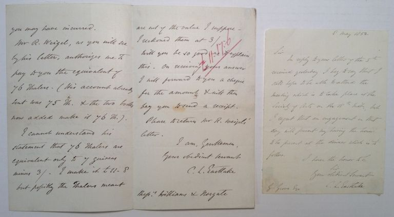 Two Interesting Autographed Letters Signed. Sir Charles EASTLAKE, 1793 - 1865.