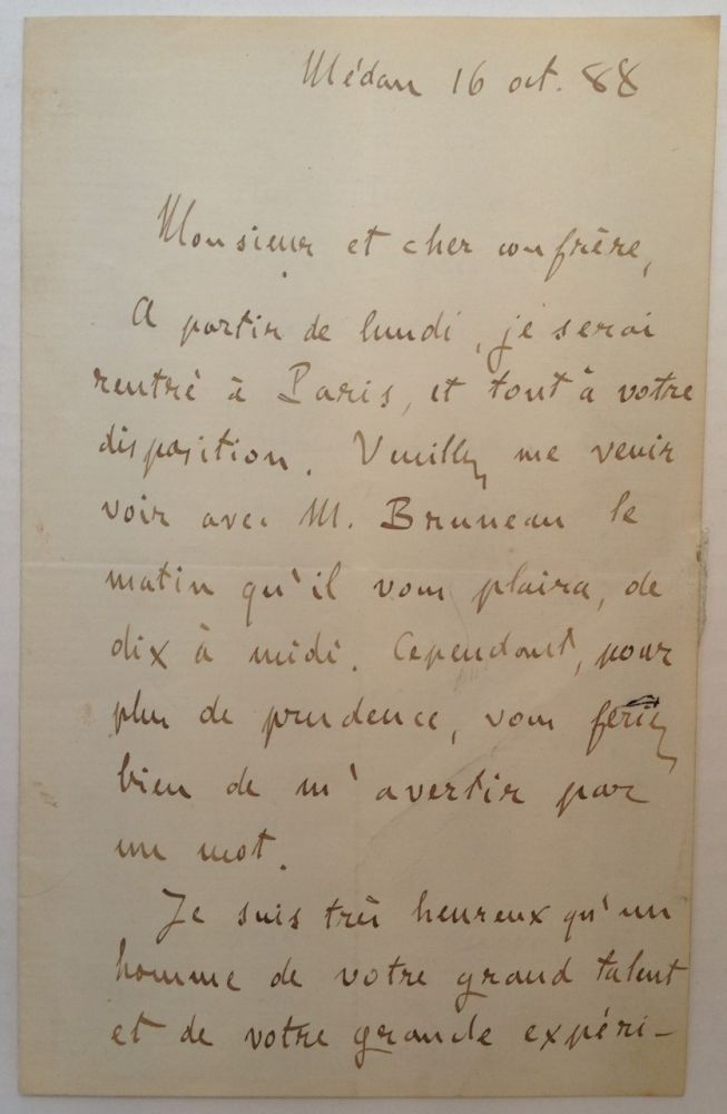 Autographed Letter Signed in French. Emile ZOLA, Edouard-Charles-Antoine, 1840 - 1902.