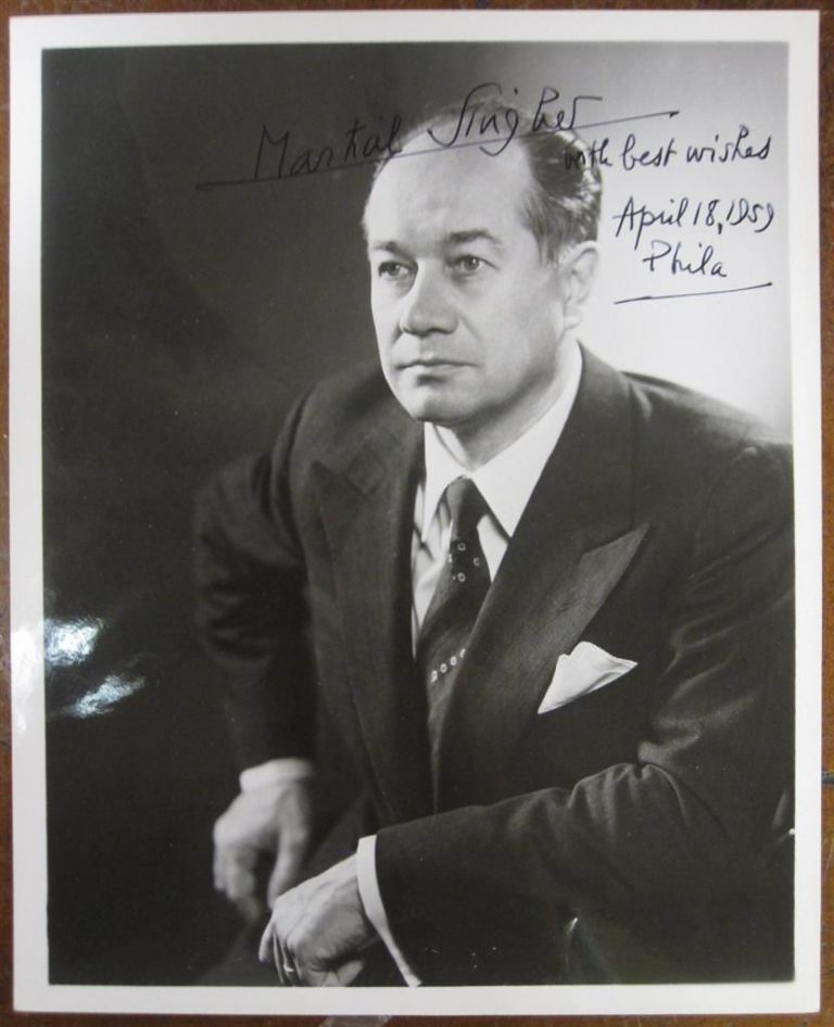 Inscribed Photograph. Martial SINGHER, 1904 - 1990.