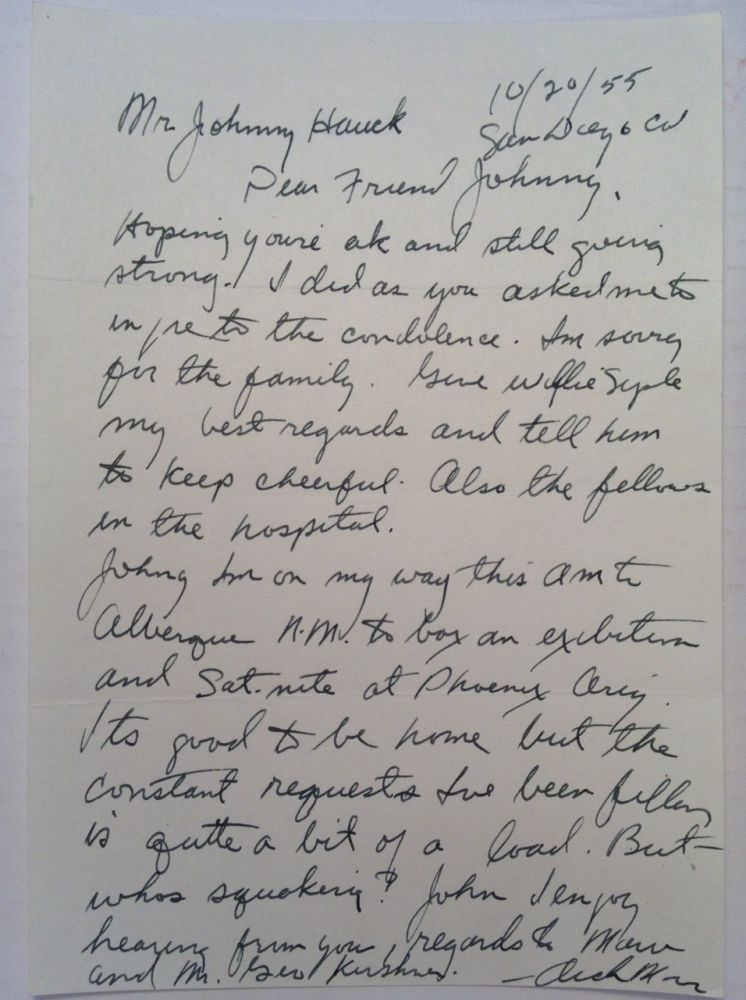 Autographed Letter Signed to a boxing historian. Archie MOORE, 1916 - 1998.