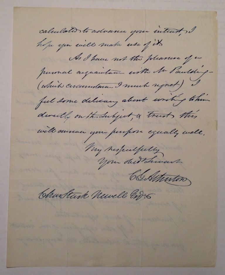 Scarce Autographed Letter Signed. Charles Gordon ATHERTON, 1804 - 1853.