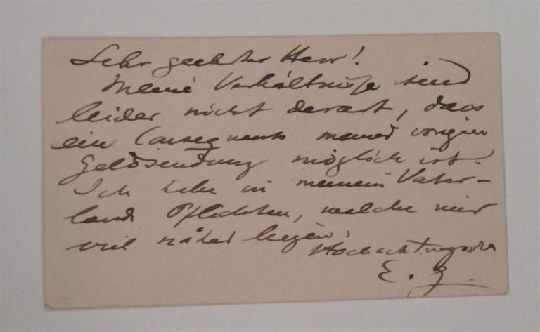 Rare Calling Card Signed in German. Edvard GRIEG, 1843 - 1907.