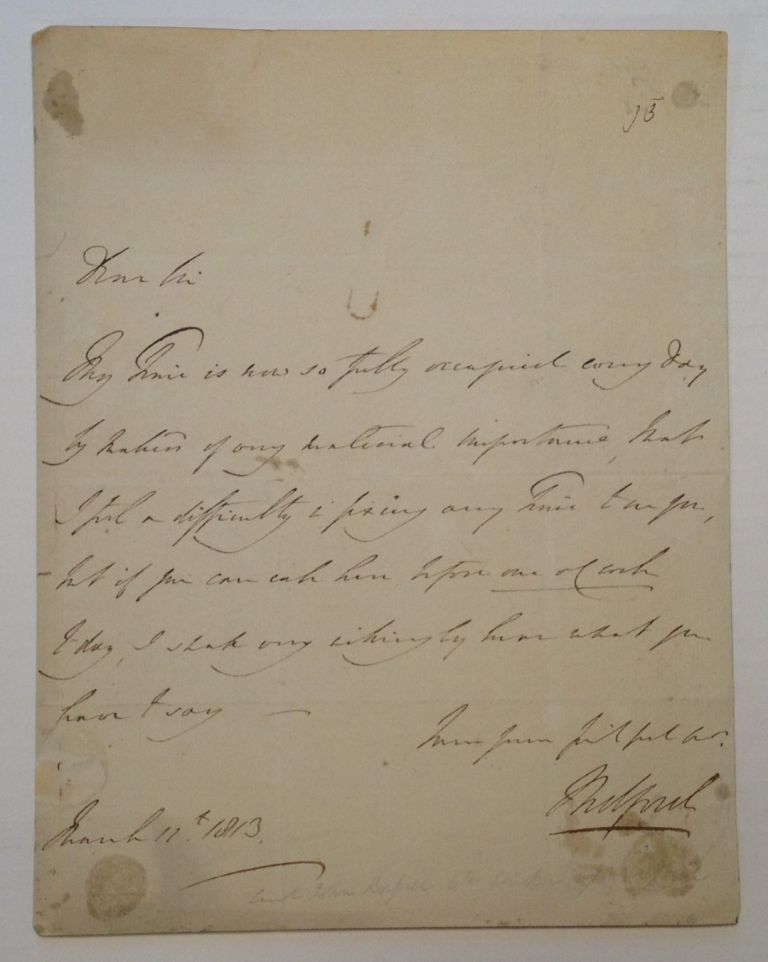Fine Autograph Letter Signed. John RUSSELL, 6th Duke of Bedford, 1766 - 1839.