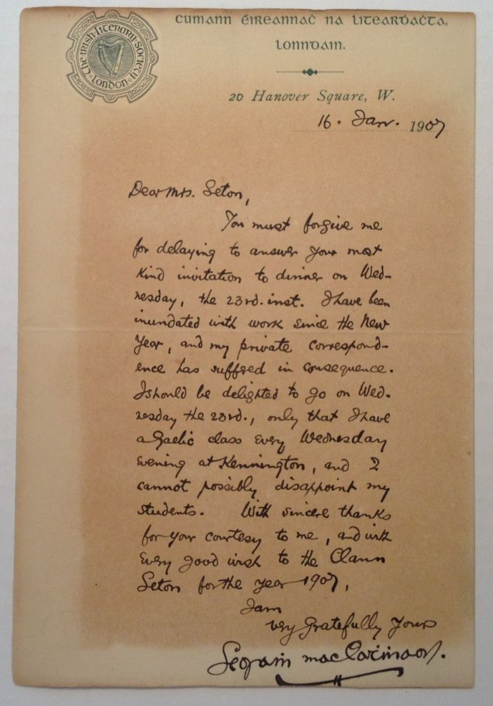 Scarce Autographed Letter Signed. Joseph CAMPBELL, 1879 - 1944.