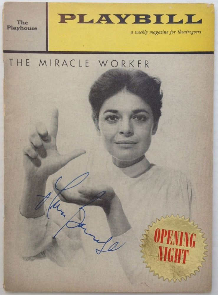 """Signed Playbill -- """"The Miracle Worker"""" Anne BANCROFT, 1931 - 2005."""