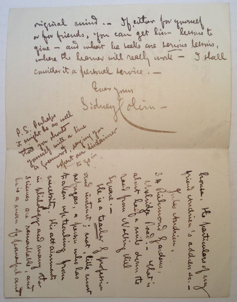 """Autographed Letter Signed on """"Savile Club"""" stationery. Sidney COLVIN, 1845 - 1927."""