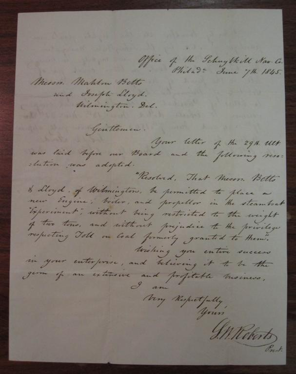 Autographed Letter Signed by the steamboat and railroad pioneer. Solomon White ROBERTS, 1811 - 1882.