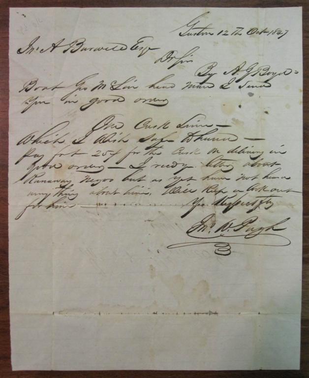 Autographed Letter Signed regarding payment on one cask of limes to arrive by boat. SLAVERY.