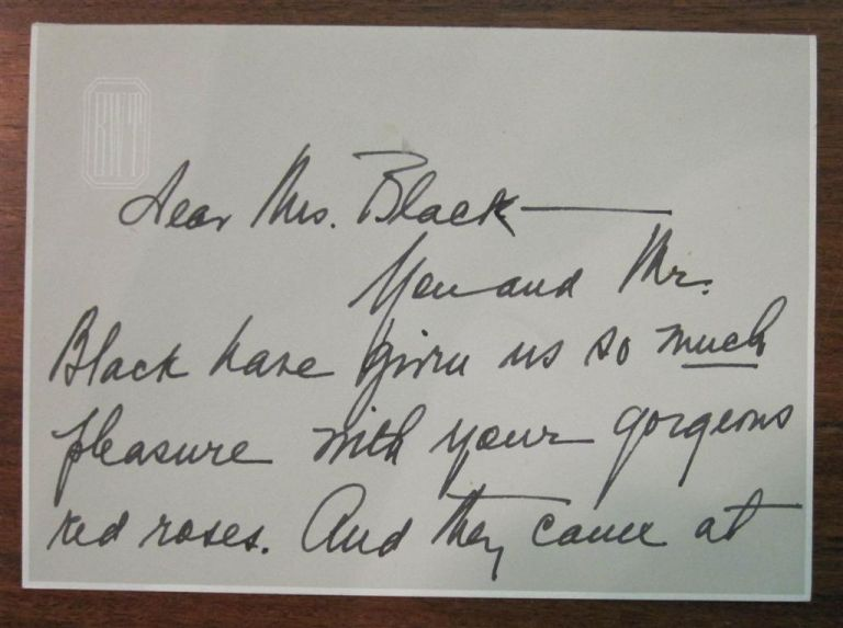 Autographed Letter Signed. Bess TRUMAN, 1885 - 1982.