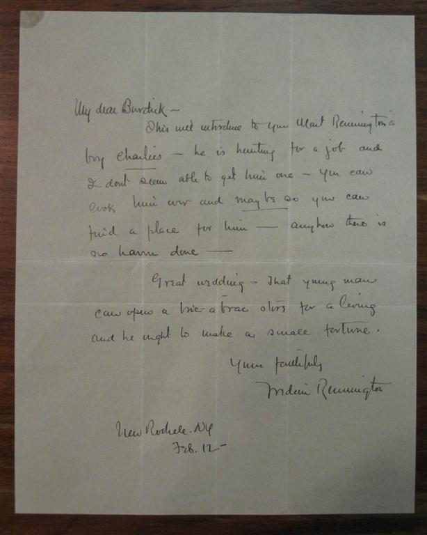 Rare Autographed Letter Signed in Full. Frederic REMINGTON.