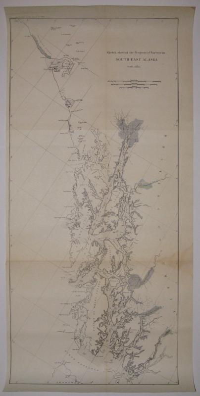 Sketch Showing the Progress of Surveys in South East Alaska. UNKNOWN.