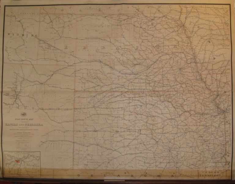Post Route Map of the States of Kansas and Nebraska with Adjacent Parts of Missouri, Iowa, Dakota, Colorado, Texas and Indian Territory showing Post Offices with the Intermediate Distances and Mail Routes in Operation on the 1st of December 1893. A. von HAAKE.