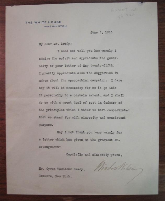 Typed Letter Signed as President. Woodrow WILSON, 1856 - 1924.