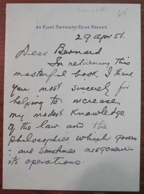 """Four-Page Autographed Letter Signed """"David"""" on personal letterhead. David SARNOFF, 1891 - 1971."""
