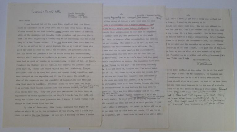 "Exceptional Typed Letter Signed about ""The New Yorker"" Katherine Sargeant WHITE, 1892 - 1977."