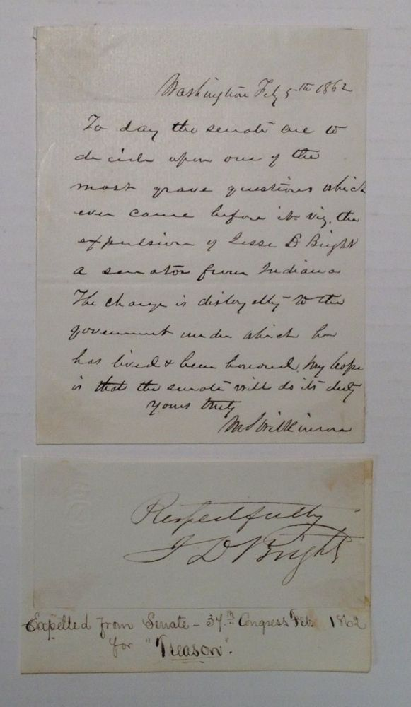 Historically Important Autographed Letter Signed. MORTON S. WILKINSON, 1819 - 1894.