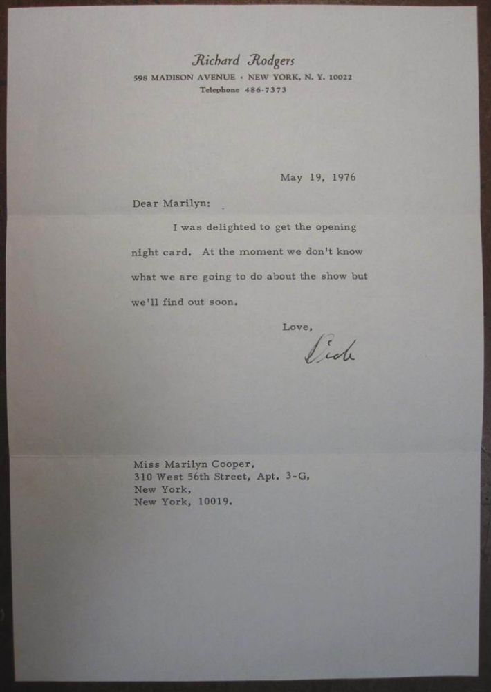 Typed Letter Signed on personal letterhead. Richard RODGERS, 1902 - 1979.
