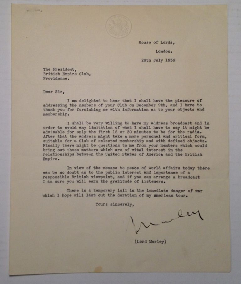 Interesting Typed Letter Signed. Lord MARLEY.