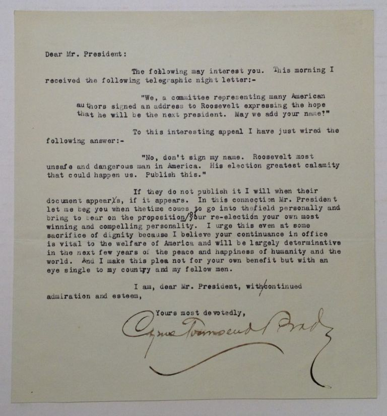 Typed Letter Signed to Theodore Roosevelt. Cyrus Townsend BRADY, 1861 - 1920.