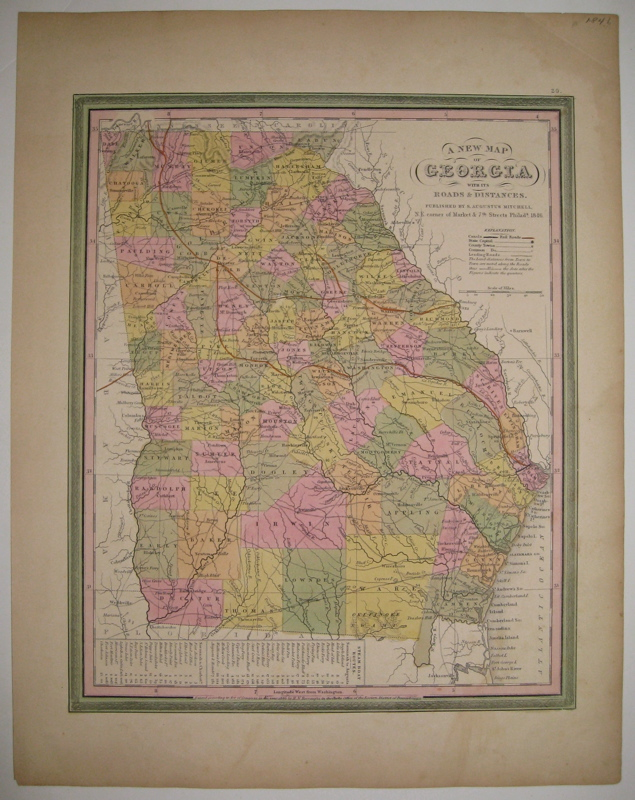 A New Map of Georgia with its Roads & Distances. Samuel Augustus Sr MITCHELL.