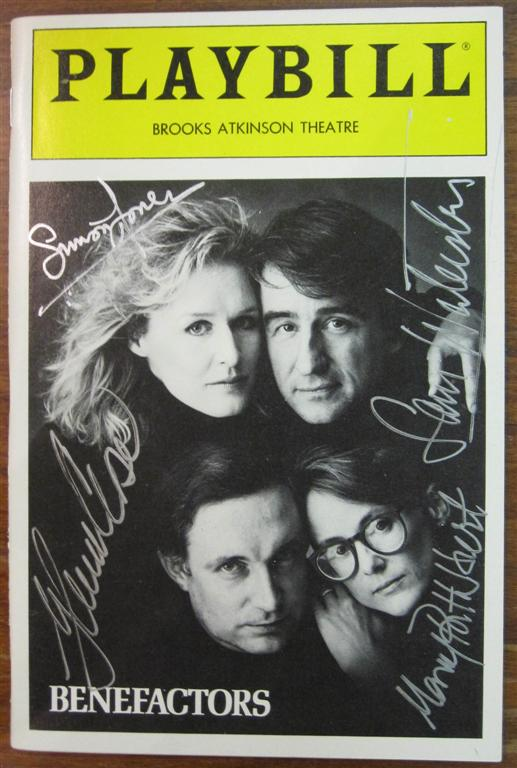 """Signed Playbill by the cast of """"Benefactors"""" Glenn CLOSE."""