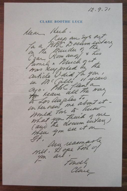 """Autographed Letter Signed """"Clare"""" to a magazine editor. Clare Boothe LUCE, 1903 - 1987."""