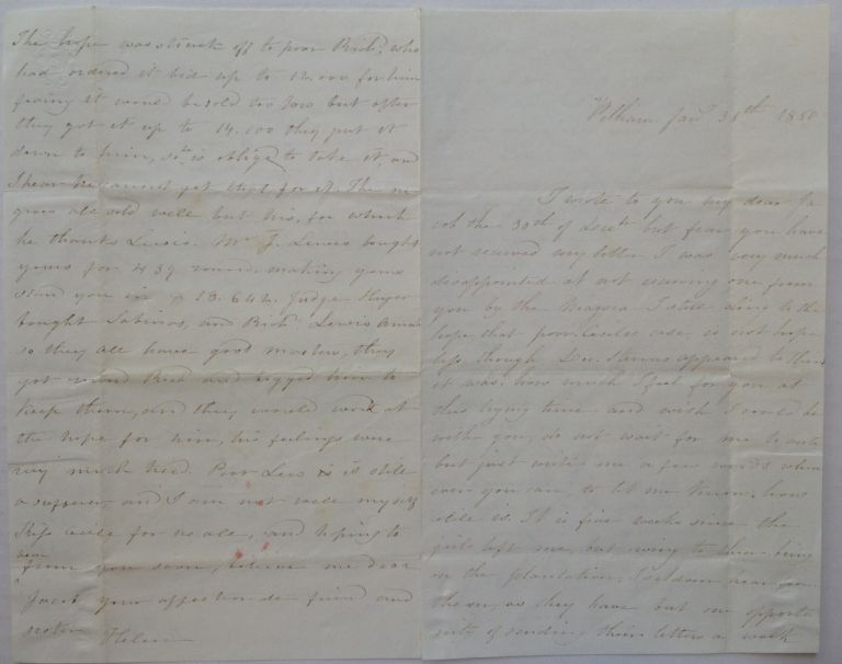 Lengthy Autographed Letter Signed Indicating Traffic in Slaves. MORRIS FAMILY DESCENDANTS, MORRISANIA.