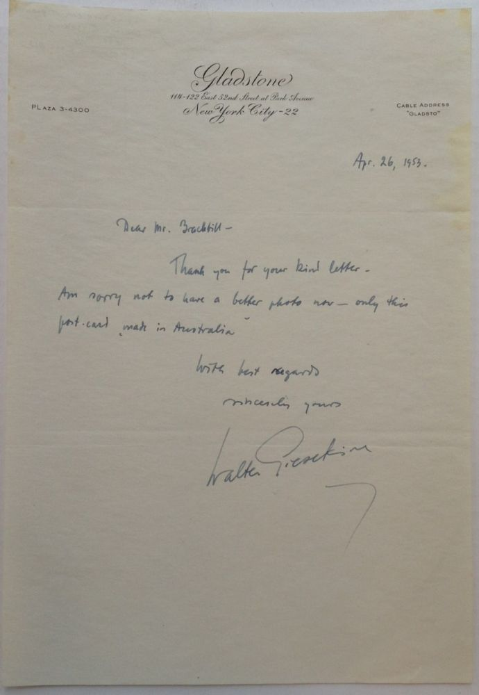 Autographed Letter Signed. Walter GIESEKING, 1895 - 1956.