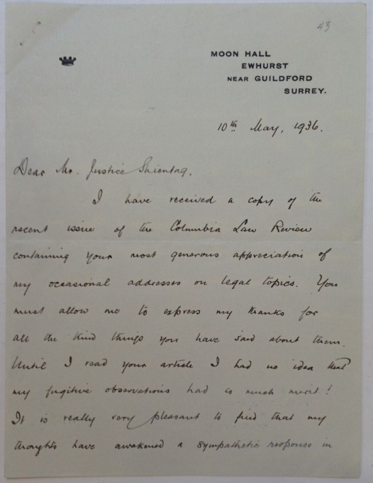 """Autographed Letter Signed """"Macmillan"""" to a Judge. Harold MacMILLAN, 1894 - 1986."""